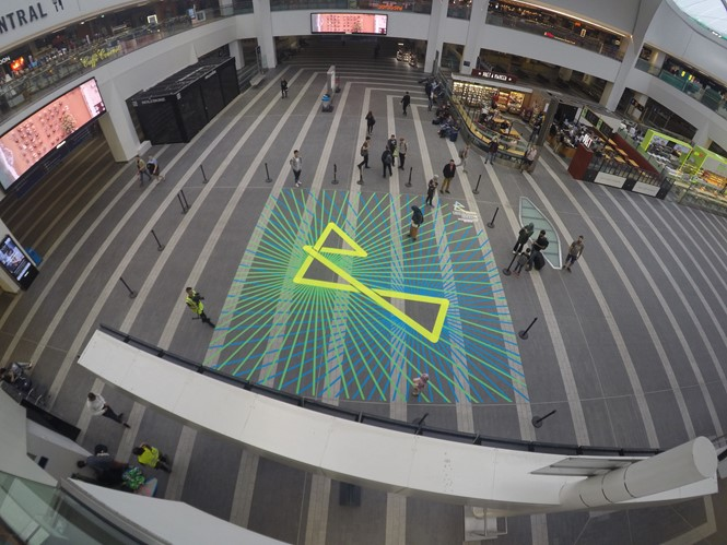 Birmingham 2022 Tape Art - Grand Central Station.JPG